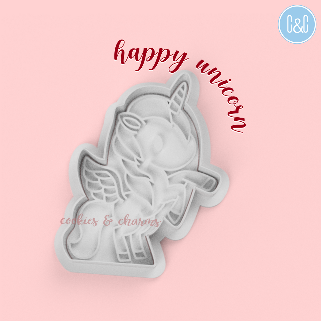 Happy Unicorn Cutter and Embosser by cookies and charms