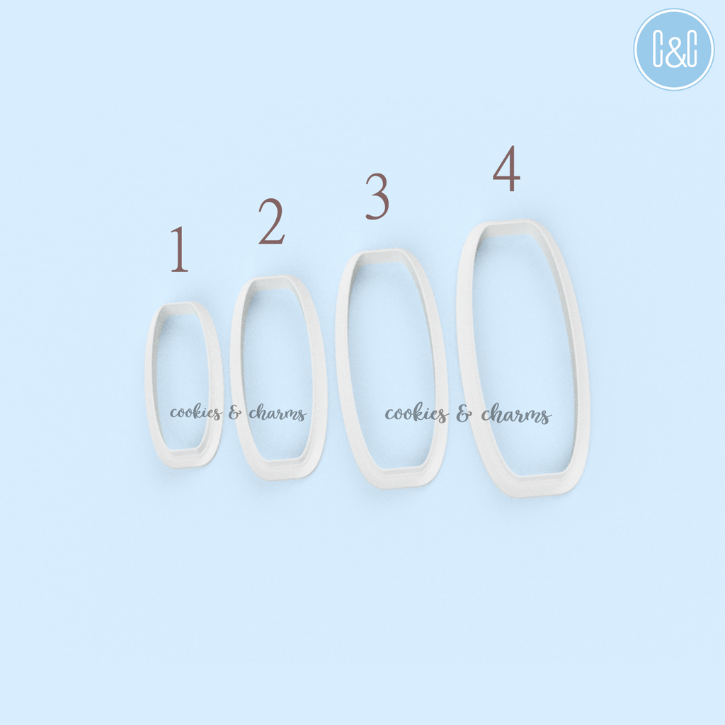 Chubby Rectangle Barrette Polymer Clay Cutter set of 4, size 40mm, 50mm, 60mm and 70mm each