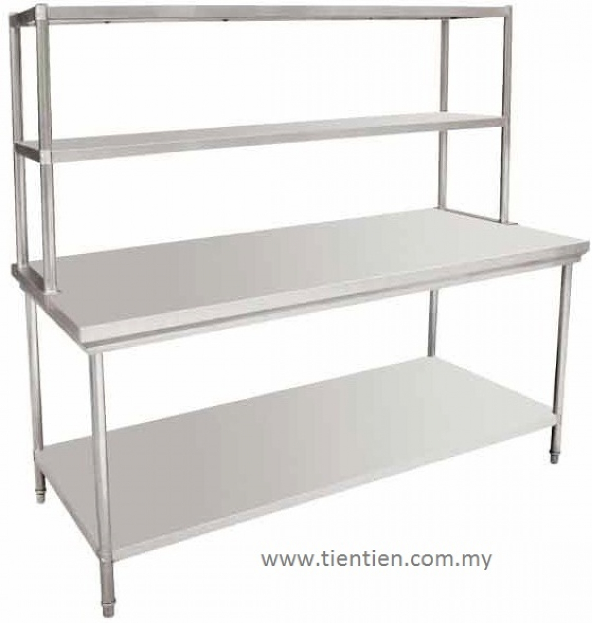 TIEN TIEN Stainless Steel Work Table With Top Shelves BNW - Stainless steel table top shelves