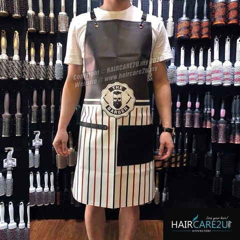 The Barber Head Black & White Stripes Leather Apron Styling Cloth 3.jpg