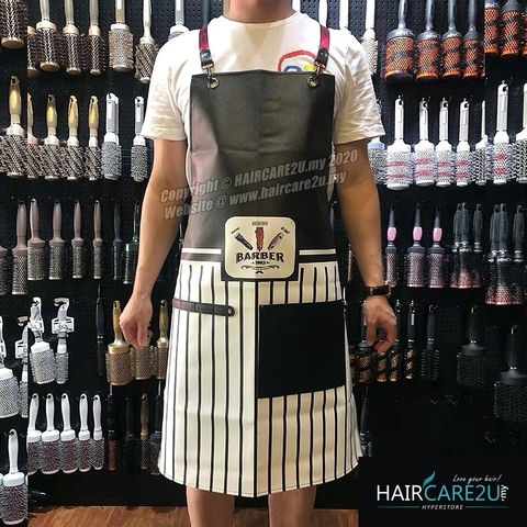 The Barber Head Black & White Stripes Leather Apron Styling Cloth 4.jpg
