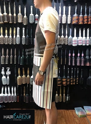 The Barber Head Black & White Stripes Leather Apron Styling Cloth 5.jpg