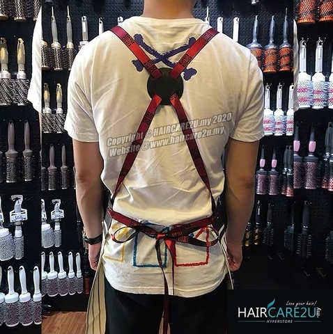 The Barber Head Black & White Stripes Leather Apron Styling Cloth 6.jpg