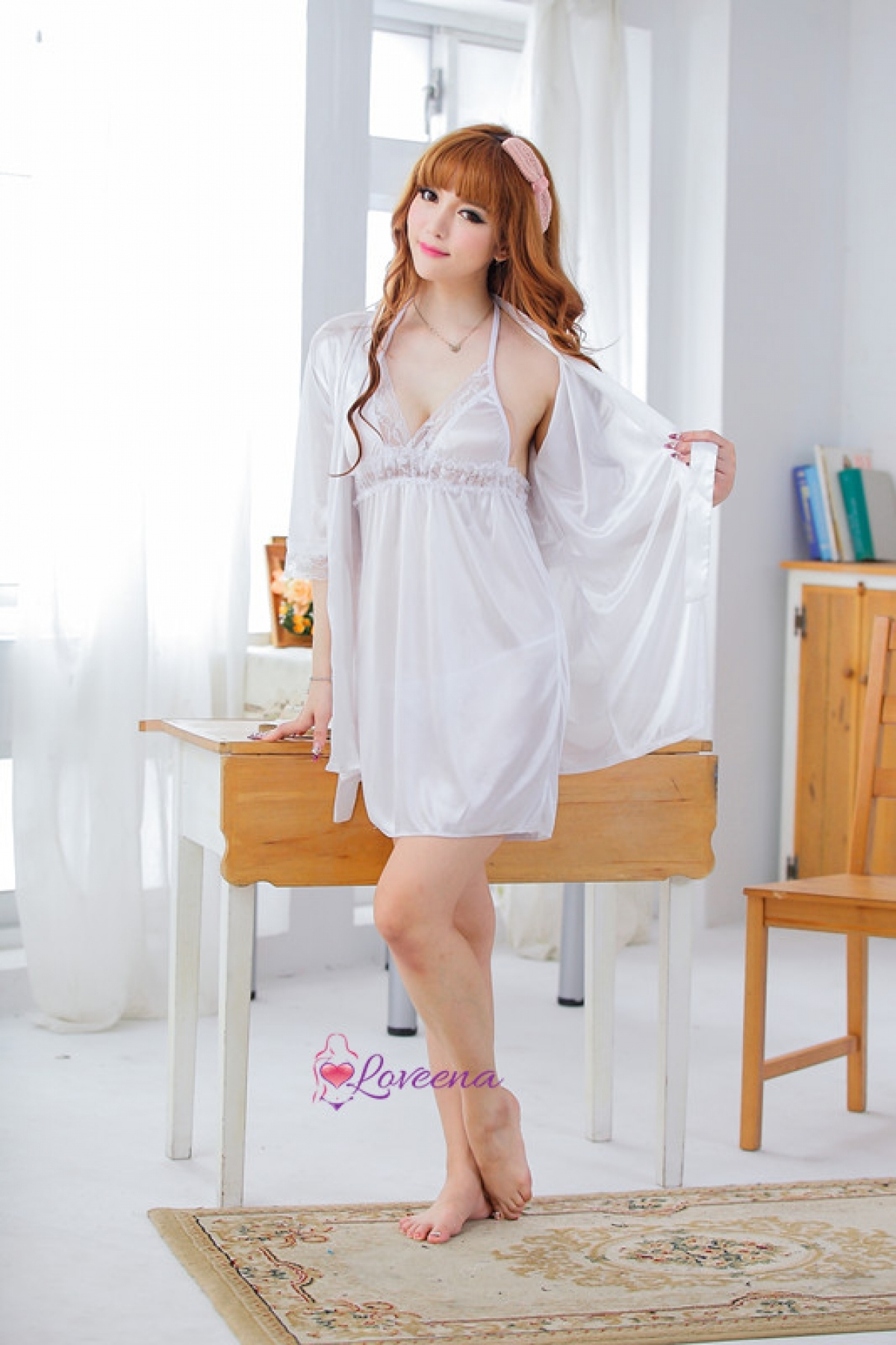 Home › Set of Sexy White Ice Silk Robe + Dress Lingerie Nightwear L3100-W.  1487377190 2228239 z 034801fcea
