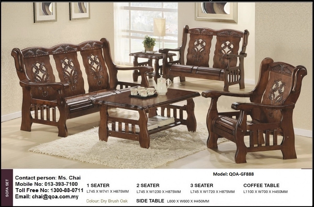 Wooden Sofa Set 1 2 3 Model Qoa Gf888