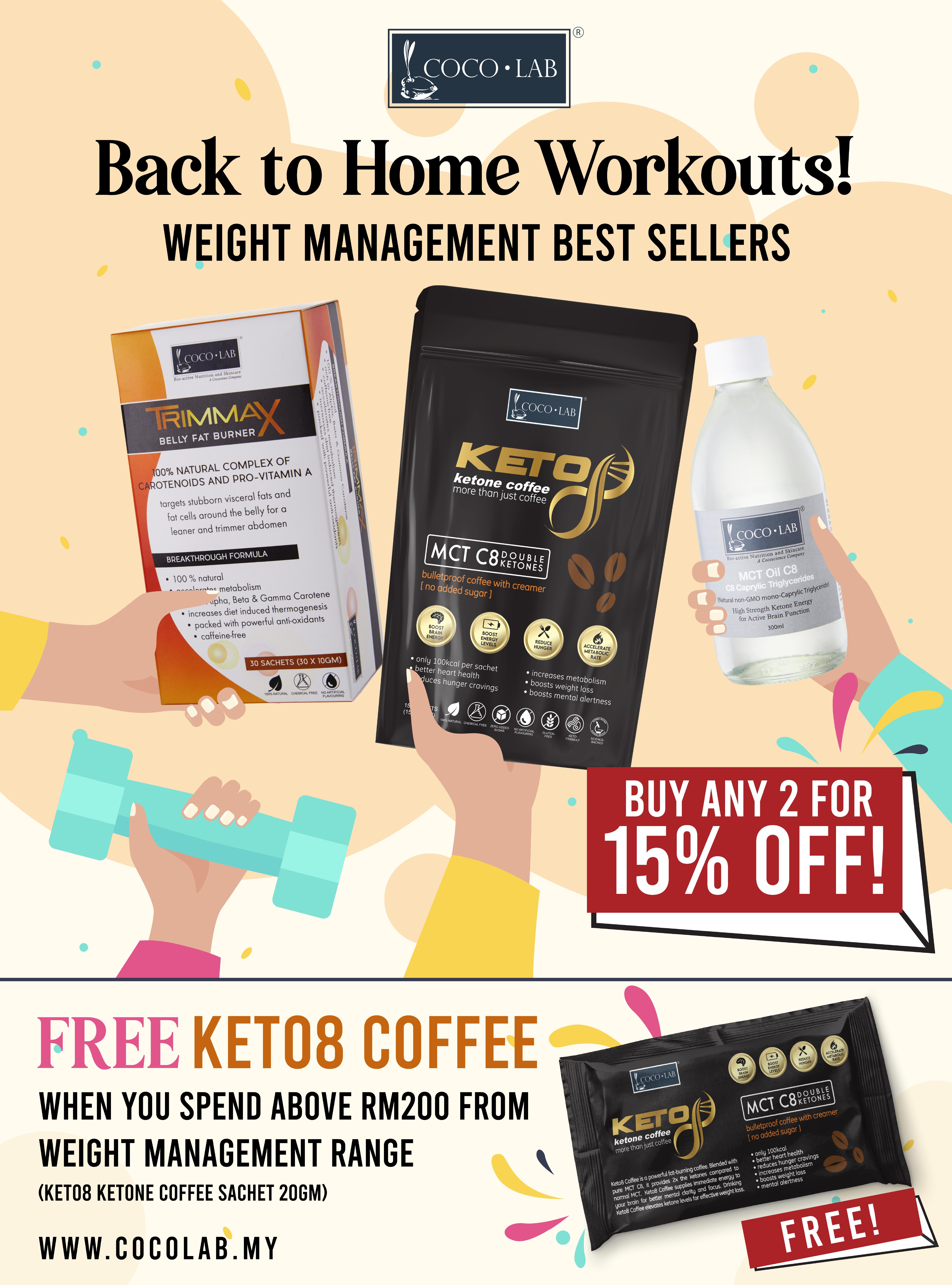15% OFF Weight Management Range plus Free Keto8 Coffee!