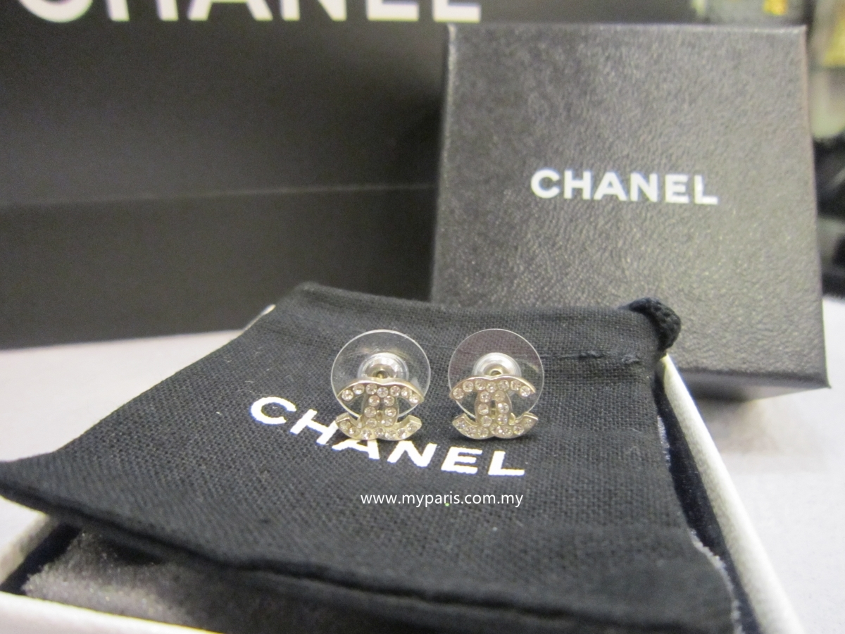 Sold Brand New Chanel Classic Silver Crystal Cc Earrings