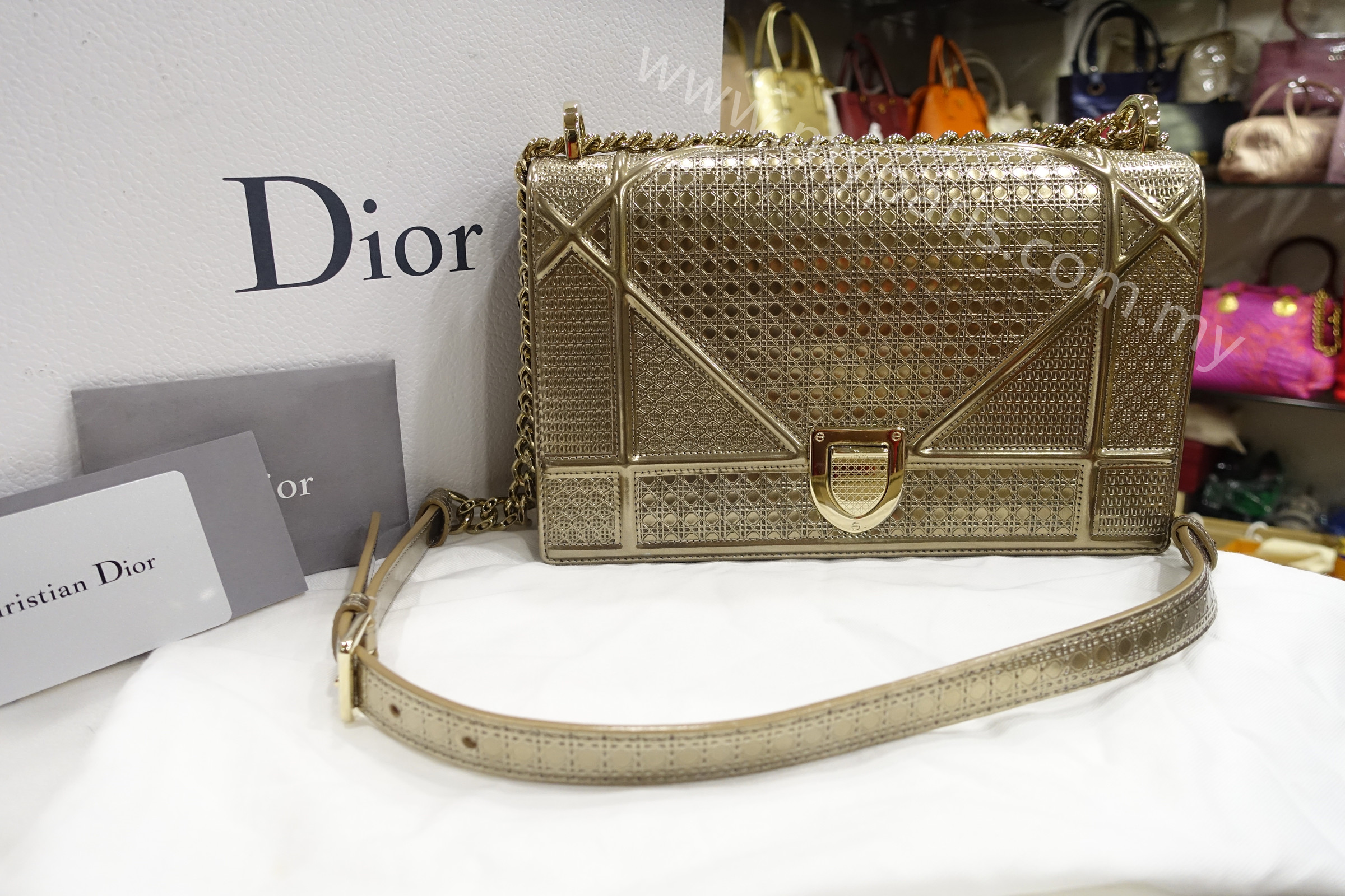 4140a0ef7a Home › Sold-Christian Dior Diorama Bag In Champagne Metallic Calfskin With  Micro-Cannage Motif. DSC08140.JPG