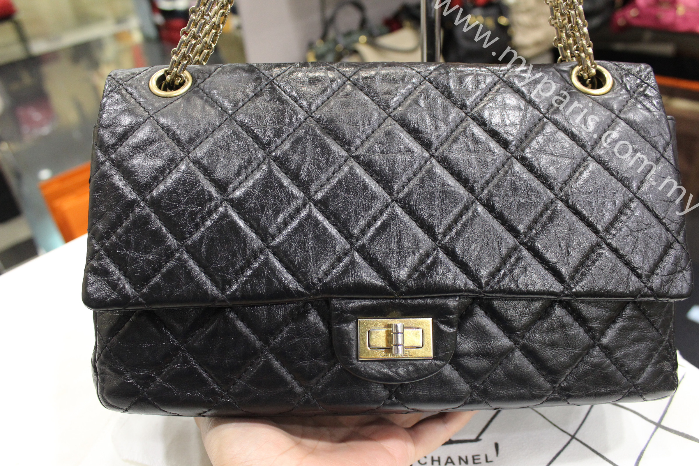 006b074b6d68bb Chanel 2.55 Black Quilted Aged Calfskin Reissue 226 Gold Hardware Double  Flap Bag