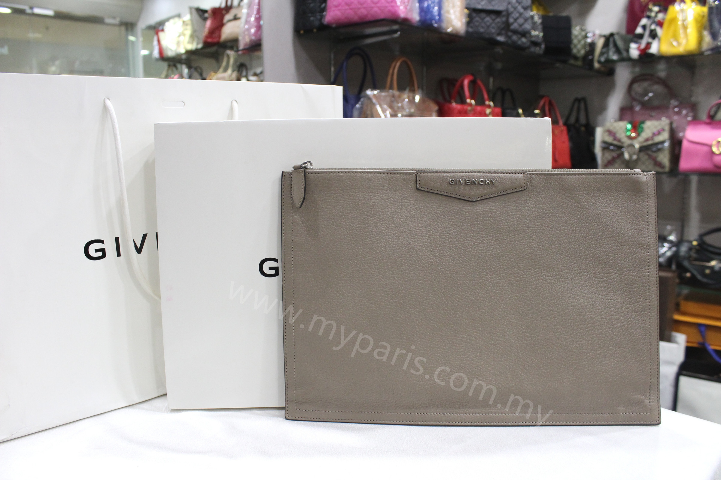 ca05f61f89 Sold-Givenchy Large Antigona Goat Leather Pouch Clutch Bag – My ...