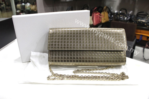 fb33b67087 Christian Dior Lady Dior Croisière Wallet In Metallic Champagne Perforated  Calfskin