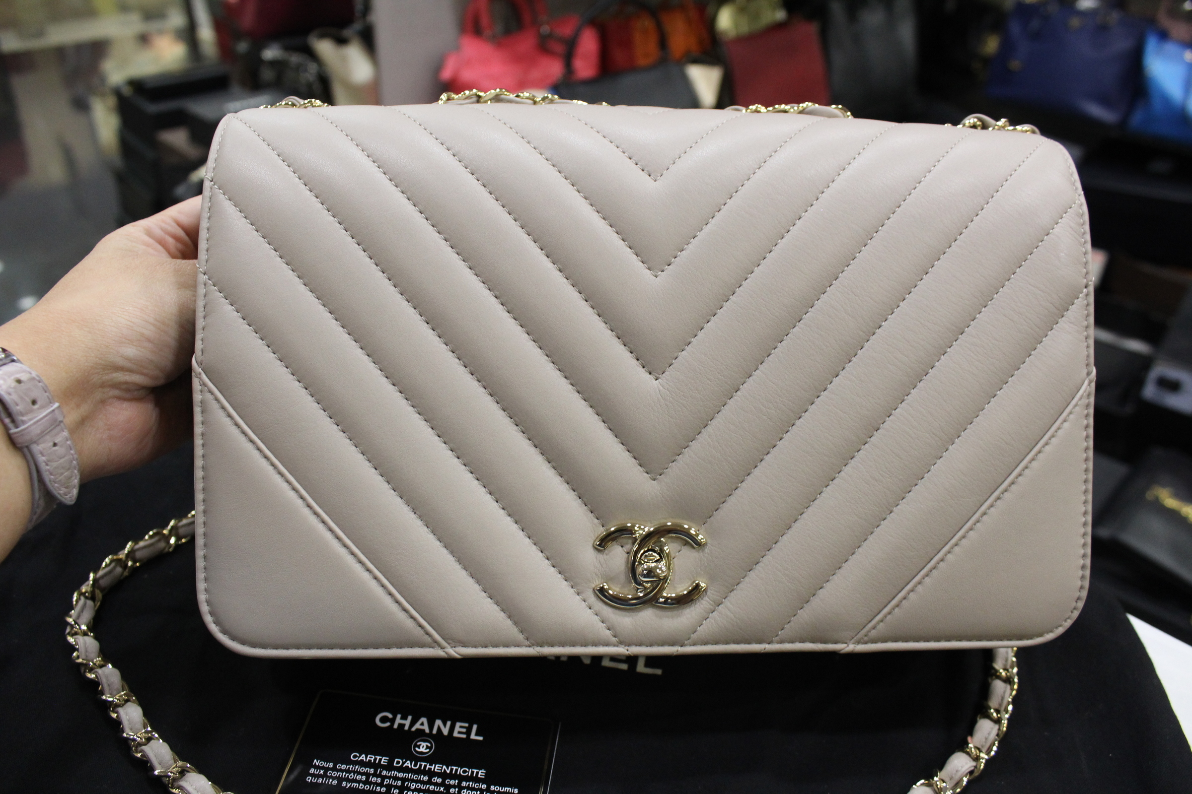a8d7bce1f4edbd Chanel Chevron Grey Calf Leather Statement Flap Bag Large – My Paris ...