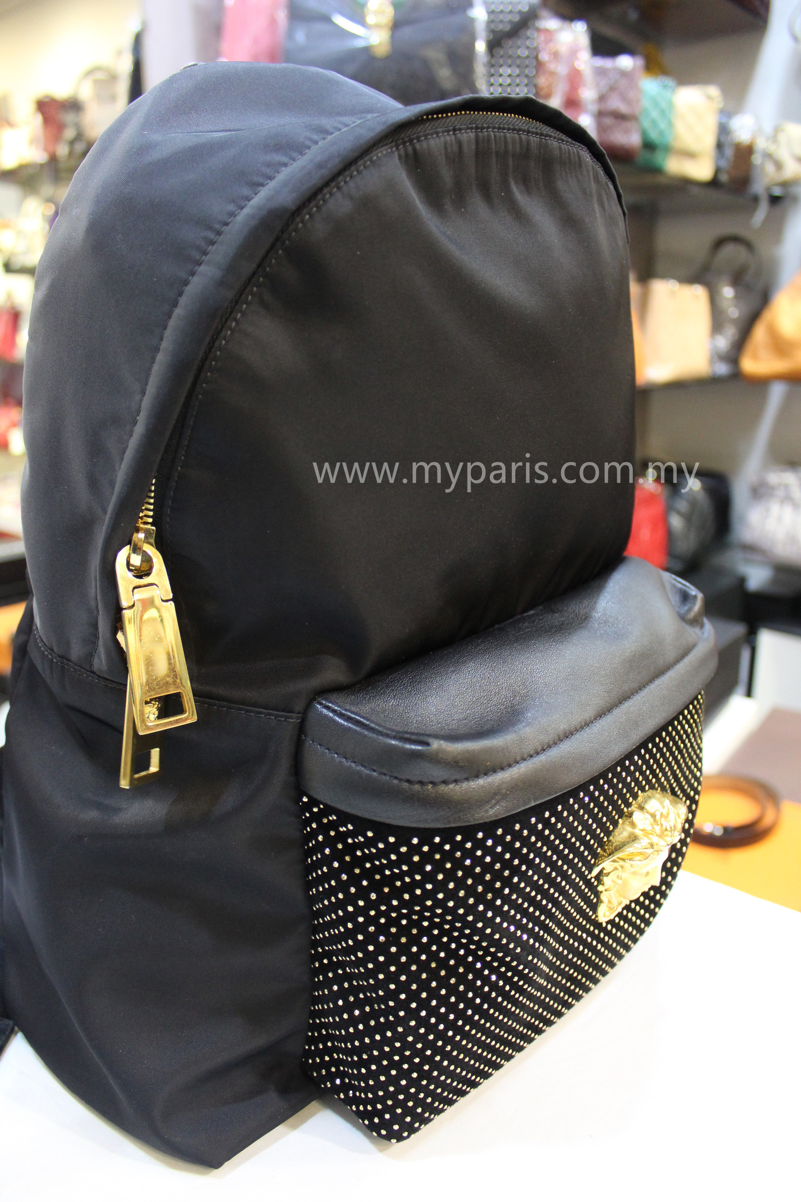 fa0a260c15 Versace Palazzo Stud Nylon Backpack – My Paris Branded Station-Sell ...