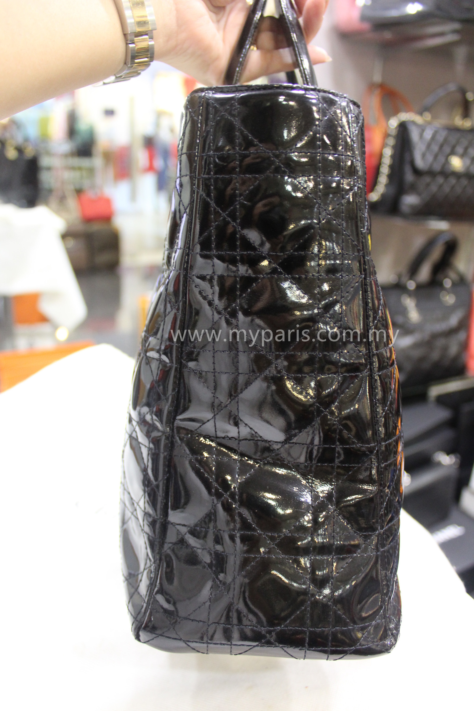e1384b1f4 Christian Dior Vintage Black Patent Leather Lady Dior Large GHW – My ...
