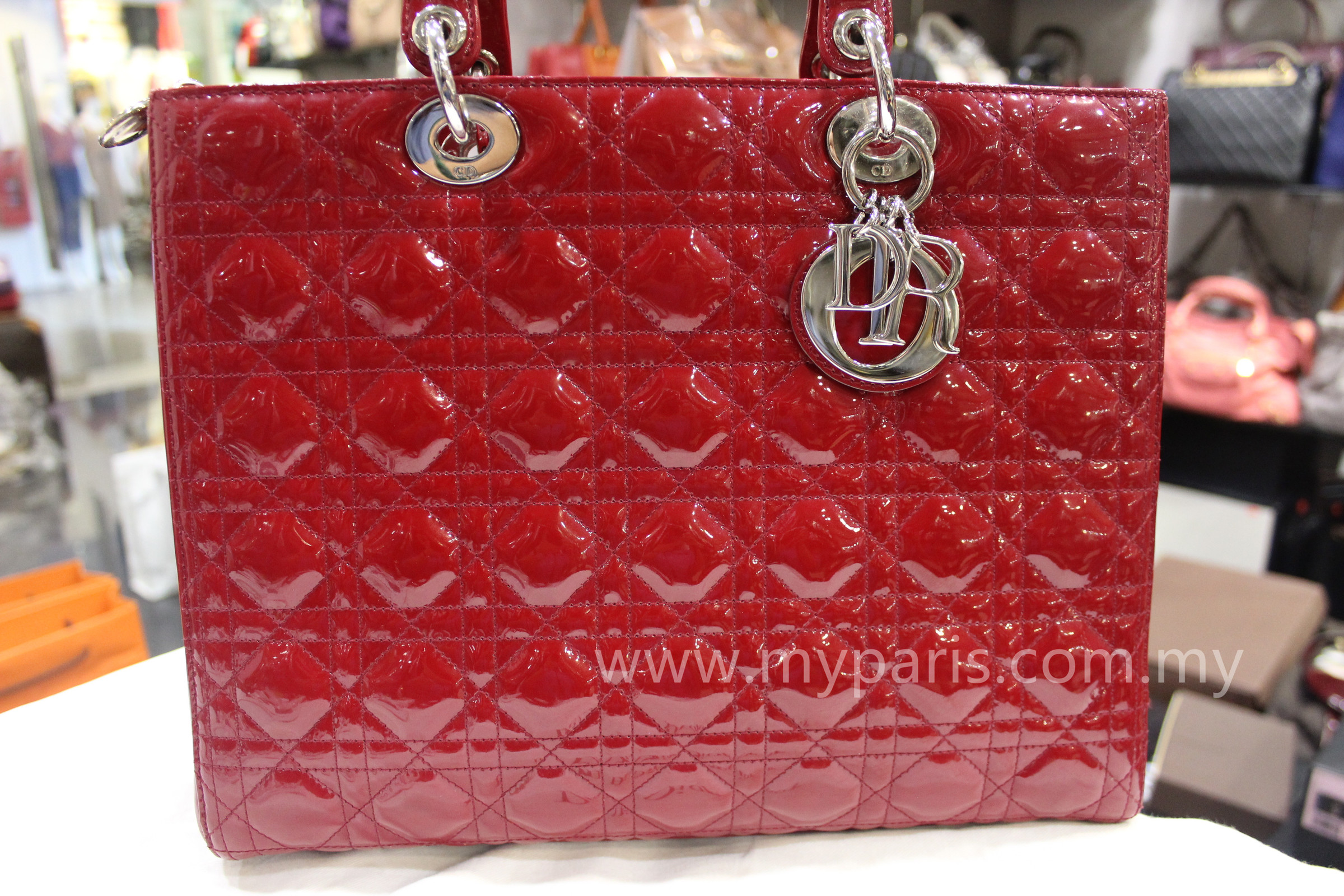 795bf307eb Christian Dior Red Patent Leather Lady Dior Large SHW – My Paris ...
