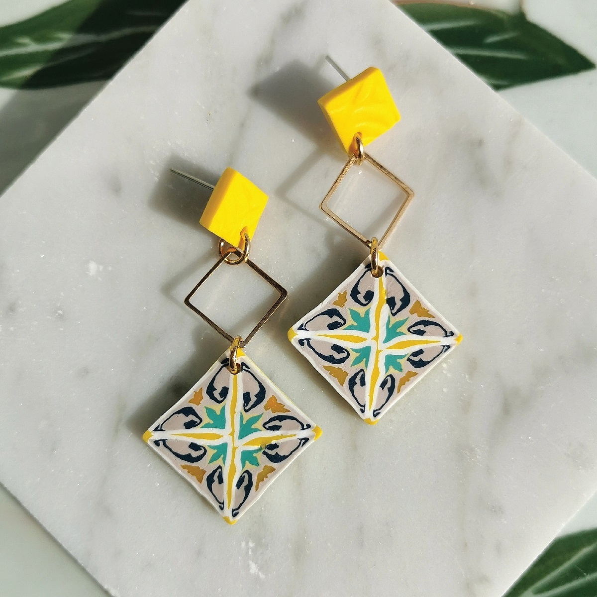 Item 2 - Either _ Or Design Heritage Yellow Three-tier Earrings.jpg