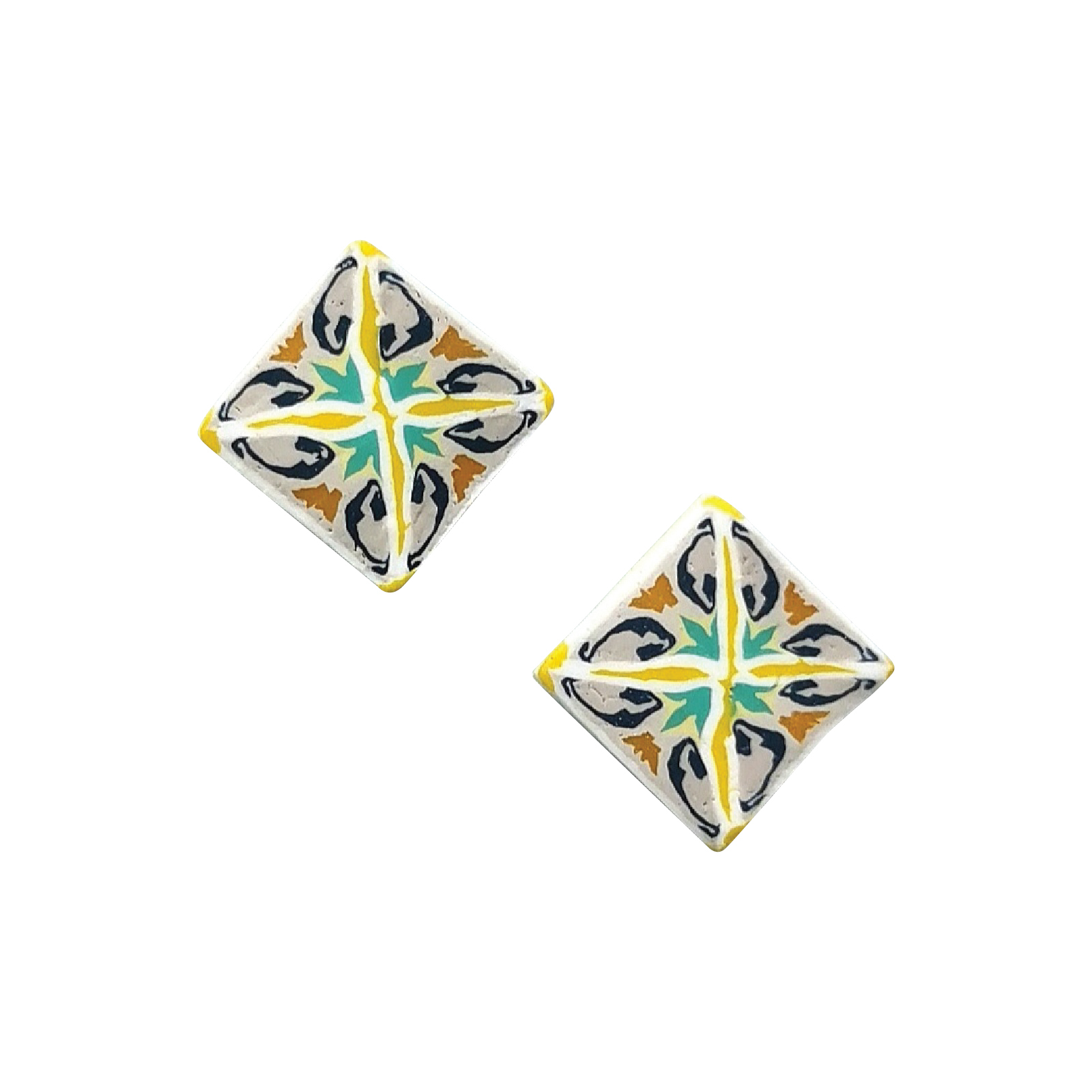 Item 10 - Either _ Or Design Heritage Yellow Tile Studs.jpg