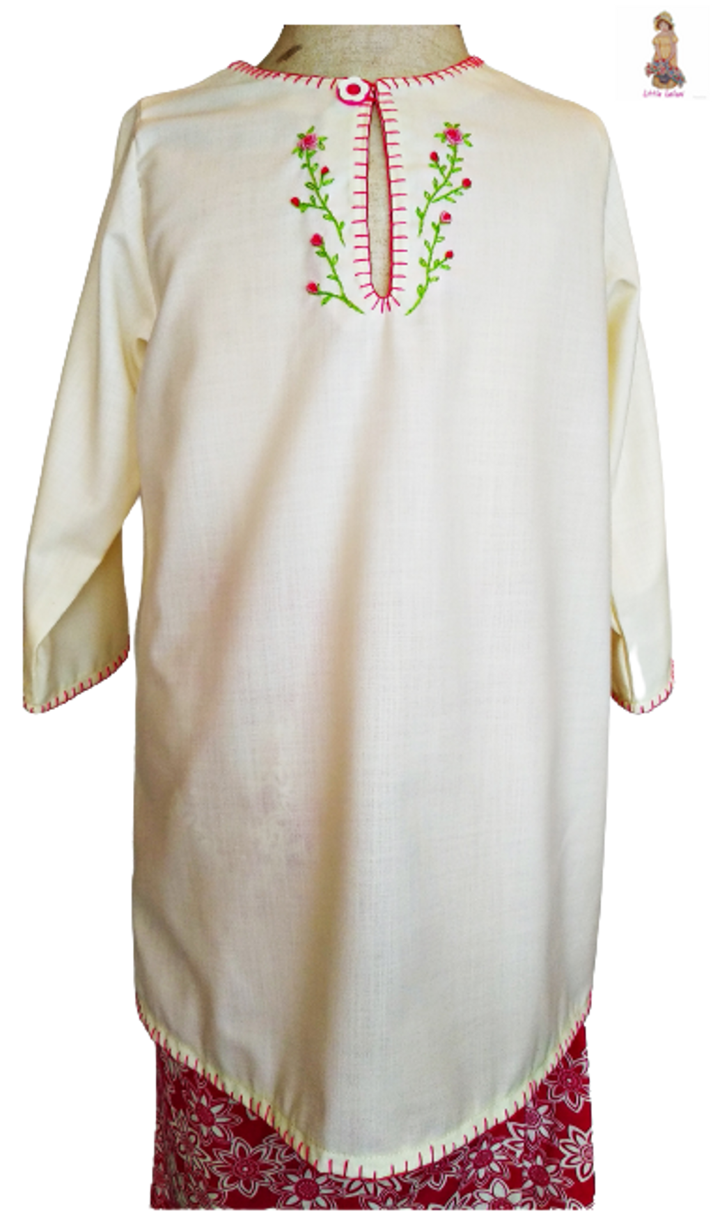 Little Leilani Dark Pink Embroidery Baju Kurung 6.png