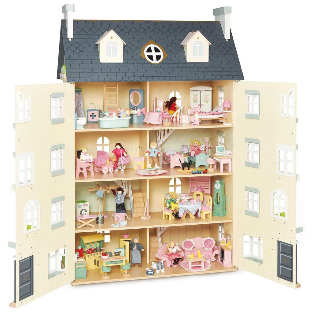 H152-Palace-House-Gold-Pink-Grey-Blue-Giant-Deluxe-Wooden-Dolls-House-Open-Daisylane-Furniture-Family.jpg