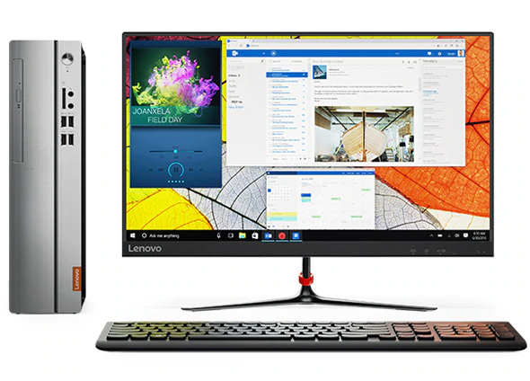 Lenovo Ideacentre 510S (2nd Gen), front view with monitor and keyboard