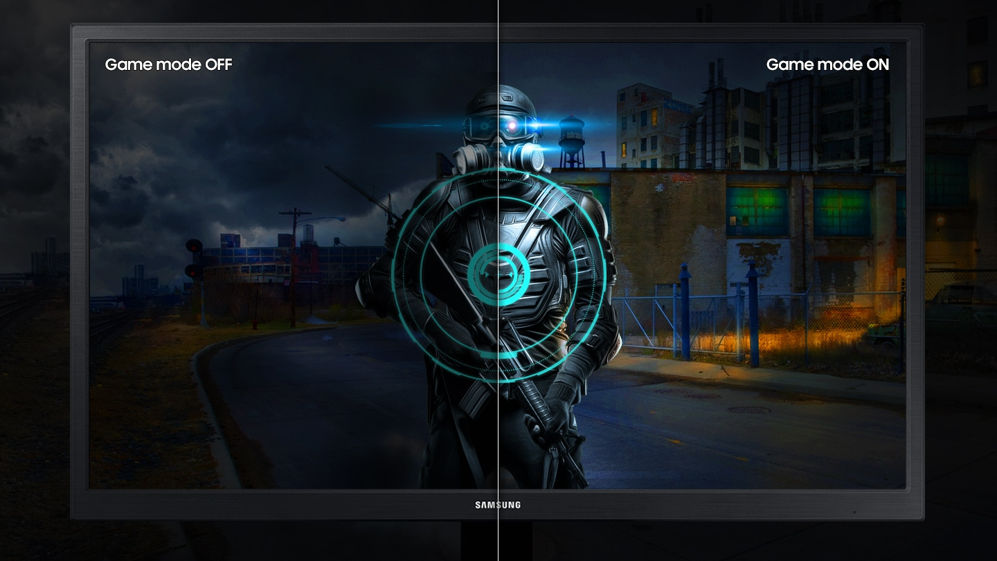 Compared to the left side without game mode, the right side shows better details of gaming contents with the mode on.