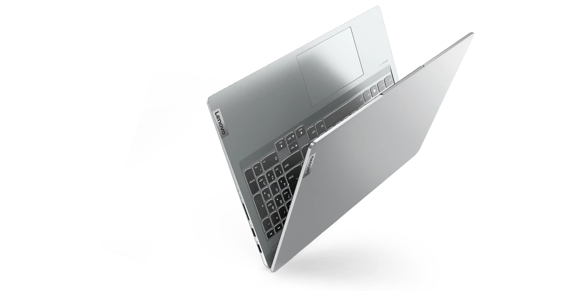 """IdeaPad 5 Pro Gen 6 (16"""" AMD) Cloud Grey inverted left side view, with lid partially open"""