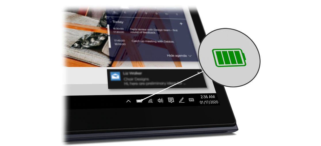A close-up of the icons at the foot of the Yoga Duet 7i, with the battery icon magnified