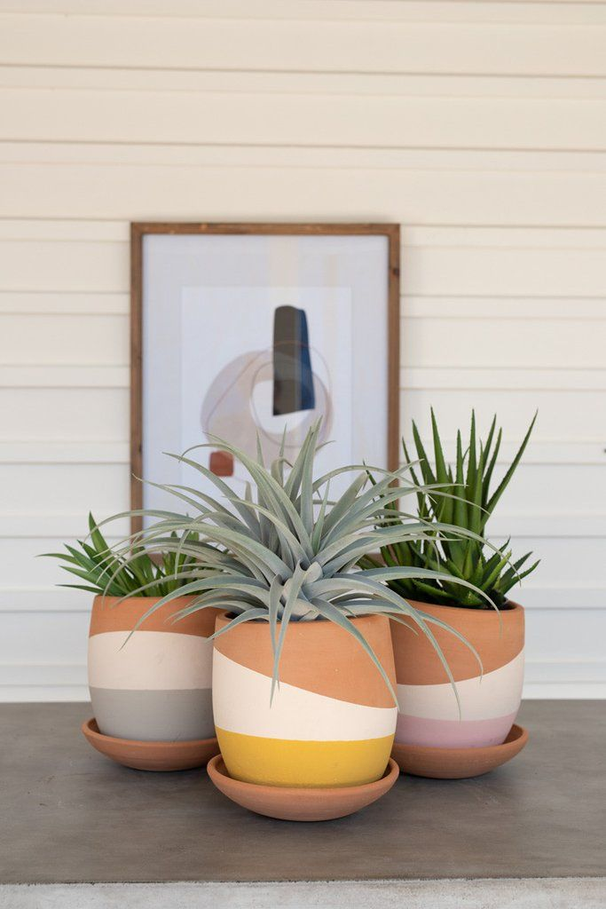Kalalou Set Of Three Double Dipped Clay Pots With Clay Sauciers.jpg