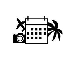 矩形日曆的黑白圖,右側有一棵棕櫚樹,左側有一個照相機和一個飛機