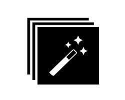 3 張黑紙重疊,上面有一根魔法棒的插圖