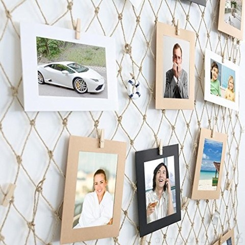 Photo Wall Frames DIY Hemp Rope Grid Mediterranean Suspension Fishing Nets Decorations Paper Photo Frame 200 100cm Photo Jam 40 Sheets B07CB8JXW2_1-500x500_0.jpg