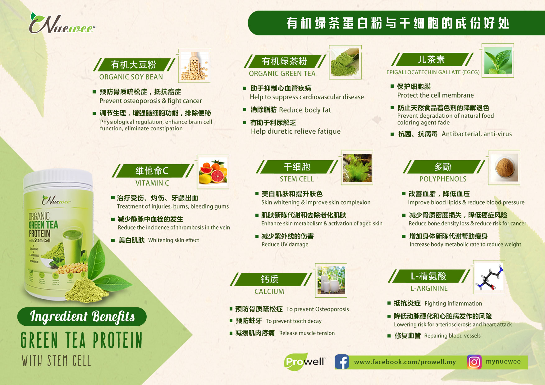 Ingredients of Nuewee Organic Green Tea Protein with Stem Cell.jpg